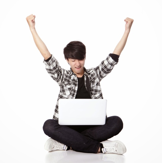 student Man sitting and using computer