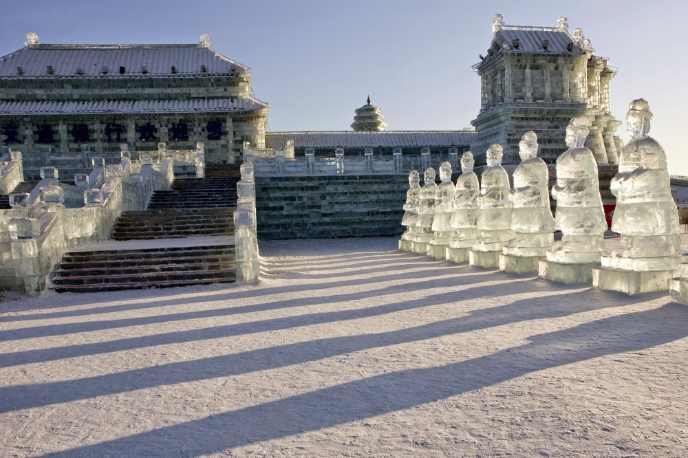 Forbidden Palace ice sculpture at Ice Festival in Harbin, China