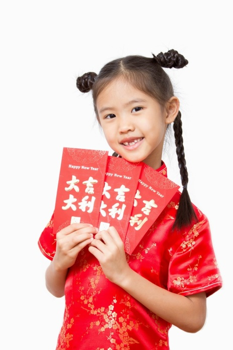 Asian girl holding red packet,chinese new year theme.